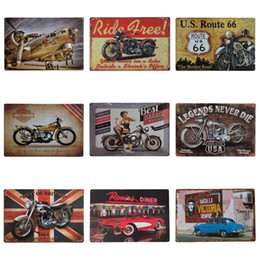Wholesale art legend - 20*30cm Vintage Tin Poster Best Garage For Motorcycle Route US 66 Iron Paintings Legends Never Die Tin Sign Popular ZB