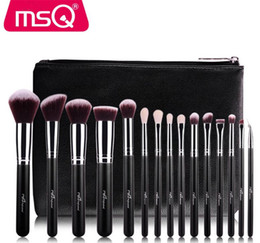 Wholesale eyeshadow leather case - High Quality MSQ makeup brushes sets 15pcs cosmetics brush Professional Eyeshadow Beauty Synthetic  GOAT hair With PU Leather Case bag DHL