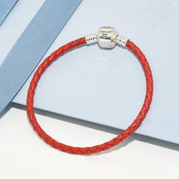 seil für die herstellung von armbändern Rabatt Luxus Mode Klassische design frauen Rot Leder Seil Hand Kette Armbänder Logo Box für Pandora 925 Silber Charms machen Armband