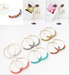 Wholesale colored earring studs - 7 Colors Simple Bohemia Big Circle Handmade Colored Tiny Bead Hoop Earrings Alloy Drop Pendant Stud Earrings for Girls Gifts Free DHL H132R