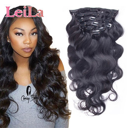 Wholesale full hair weaves - Brazilian Body Wave Clip In Hair Extensions 70-120g Unprocessed Human Hair Weaves 7 Pieces set Full Head