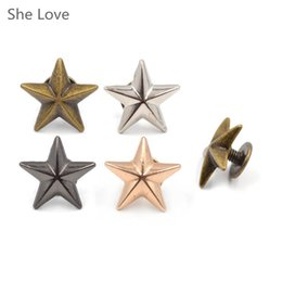 garanhão rebite Ela Amor 10pcs metal Pentagram Stud Rivet de Spike Punk Parafuso para Leathercraft Bolsas Sapatos DIY Decorado Garment Decor de