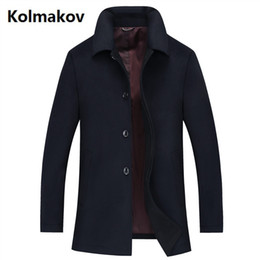 Wholesale Trench Dark Blue - KOLMAKOV 2017 winter Men's fashion casual Men's thick trench coat woollen overcoat man coat jackets windbreaker size M-4XL