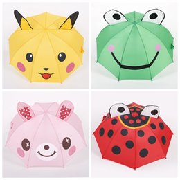 Wholesale Long Black Rabbit Ears - Cartoon Ears Stereoscopic Kids Umbrella Pikachu Micke Rabbit Bunny Frog Rain Stopper Dual Purpose Sunshade Children Kid Umbrella
