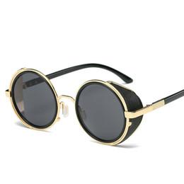 63158dfda4949 estilo steampunk Desconto 2019 moldura de ouro nova marca retro rodada  óculos de sol espelho homens