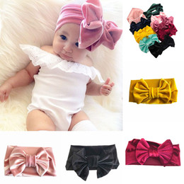 Wholesale Gold Headband Bow - Girls Gold velvet Bow headbands kids bowknot Princess Hair band 2018 new children Boutique Hair Accessories 9 colors C3604