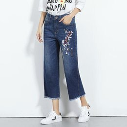 Wholesale Jeans Loose Legs For Women - Jeans Mujer 2017 New Arrival Trousers for Women Embroidery Calf-Length Wide Leg Pants 4XL 5XL 6XL Plus Size Denim Jeans