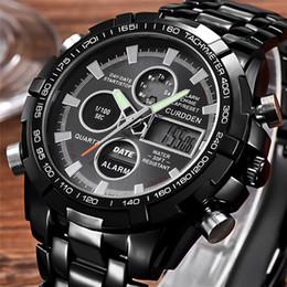 будильник золотые часы Скидка  Dual Display Business Watches Men Rose Gold Black Steel Quartz Watch Male Sport Calendar Alarm Multifuncional Wristwatch