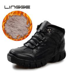 2ab8a224438 LINGGE Hombres botines con cordones de cuero para hombre Botines con  cordones Piel de goma antideslizantes Zapatos Hombres Botas de invierno de  felpa para