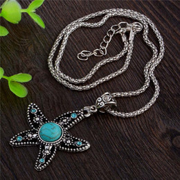 Wholesale tibetan turquoise stones - Wholesale- Green Turquoise Stone Starfish Pendant Necklace Tibetan Silver Crystal Trendy Necklace Jewelry for Women Free Shipping