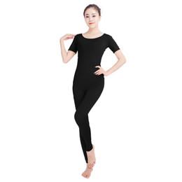 trajes femininos cômicos Desconto Ensnovo mulheres macacões de balé de manga curta de ginástica yoga collant unitard traje lycra nylon spandex preto dancewear bodysuit
