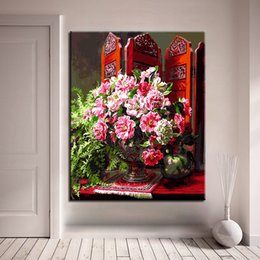 Wholesale Flower Acrylic Paintings Canvas - Hand Painted DIY Digital Oil Painting By Numbers Acrylic Kits Coloring Flowers Drawing Canvas Pictures Home Decor Wall Framework