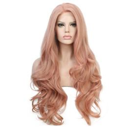 Pfirsichperücken online-Freies Verschiffen-langes Haar-Pfirsich-Rosa-natürliche Wellen-synthetische Spitze-Front-Perücken Glueless 180% Dichte-hitzebeständige Frauen-Perücke-natürliches Hairline