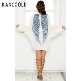 Wholesale Ladies Hooded Wool Coats - Wholesale- 2017 Autumn Winter S-XL Women Long Sleeve Casual Angel Wings Print Sexy Coat Cardigan Fairy Long jackets Tops for Lady Clothes