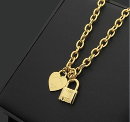 Wholesale Rose Gold Heart Lock Necklace - 2018 Hot sale Stainless steel lock shape and heart pendant necklace in 51cm length women jewelry gifts free shipping PS5016
