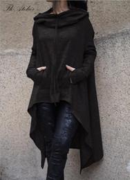 Baggy top donne online-NUOVE maglie larghe del manicotto delle donne del pipistrello delle nuove 2018 donne sexy di modo delle magliette con cappuccio di colore rosso delle donne Trasporto libero