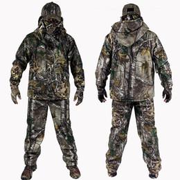 Gants de chasse hiver en Ligne-4 PC Hiver Bionic Camouflage Chasse Costumes En Plein Air Tactique Randonnée Vêtements Veste Pantalon Coupe-Vent À Capuche Gants Chapeau