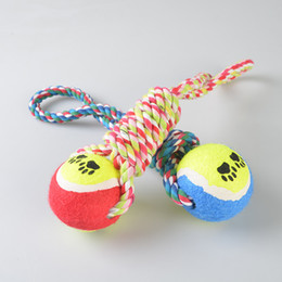 Wholesale Wholesale Dog Items - 28CM Dog Biting Knotted Toy Nets Tennis Toys Hand-Pulled Chewing Item Cotton Rope Dogs Puppy Teeth Cleaning Teeth Molar Toys