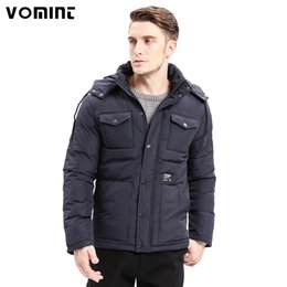 Wholesale Men Classic Hooded Jacket Hoodie - Vomint 2017 Winter Warm Men Thicken Parkas Classic Casual Jacket Multi-pockets Zipper Button Hoodie Coats Fashion Male O6WIY405