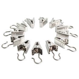 Wholesale Window Double Curtains - SAE Fortion New 10 Pcs Heavy Duty Curtain Clips W Hook - Silver Black
