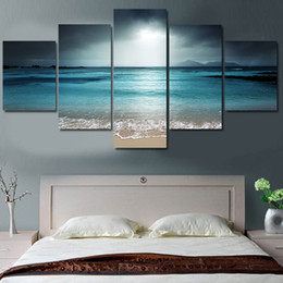 Wholesale oil painting landscapes dark - Wall Art Canvas Painting Home Decor Picture Modular HD 5 Pieces Dark Clouds Sea Scenery Prints Poster For Living Room Framework