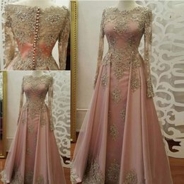 Wholesale Pink Carpet Roses - 2018 Modest Blush Rose Evening Dresses Long Sleeve Gold Lace Appliques Crystal Abiye Dubai Caftan Muslim Prom Party Gowns
