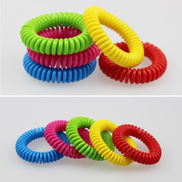 Wholesale Coil Springs Wholesale - Spring Coil Mosquito Repellent Bracelet Stretchable Elastic Coil Spiral hand Wrist Band telephone Ring Chain Anti-mosquito bracelet