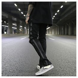 Wholesale Damaged Jeans - skinny slim fit mens holes style cotton Denim ripped Classic wash to do old damage ripped jeans Striped