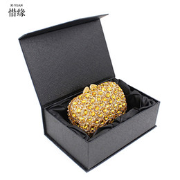 Wholesale china flap - XIYUAN orgeous Gold Evening Clutch Bag for Women Rhinestone Crystal Clutch Evening Bridal Purse China Handmade with chain