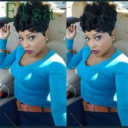 parrucca africana americana ondulata Sconti Parrucche leggermente ondulate capelli umani Glueless parrucche corte ondulate per le donne Afric Amerimen Afrin W americano per le donne Parrucche afro-americane
