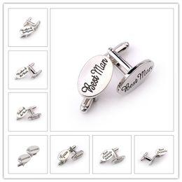 Wholesale oval cufflinks - 13 Style Men &#039 ;S Fashion Silver Oval Wedding Jewelry Cufflinks Groom Best Man Best Friend French Shirt Cuff Links High Quality 10pairs