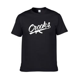 Wholesale Men Crooks T Shirt - Size XS-XXL Crooks And Castles T Shirts Men Short Sleeve Cotton Man T-Shirt CROOKS Letter Mens t shirt Tops Tee Shirt Free Shipping