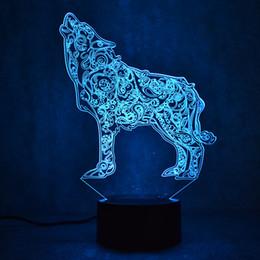 2019 luce dell'umore animale Lupo lampada da tavolo 3D USB LED notte di visione notturna lampada da comodino camera da letto Mood Creativo animale Sleeping Light Fixture Decor regalo sconti luce dell'umore animale