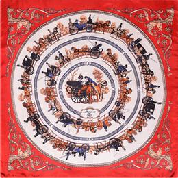 Wholesale horse silk scarf square - Women H Vintage Square Silk Scarf Luxury Brand Paris Red Bandana Foulard Femme Large Carriage Horse Print Scarfs for Ladies 90*90CM