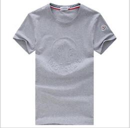 Wholesale round collar shirt men - Brand designer -Short sleeve mercerized cotton, men's short sleeves, T-Shirts, round collar, embossed, casual men's printed T-shirts.