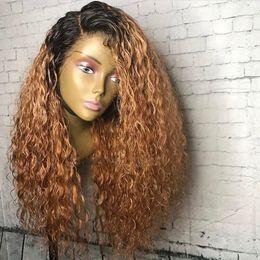 pelucas para el cabello Rebajas Moda Honey Blonde pelucas peluca rizada larga peluca sintética del frente del cordón de 24 pulgadas con pelucas Ombre a prueba de calor del pelo del bebé para las mujeres negras