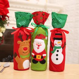 32x13 cm Şarap şampanya Şişesi Kapağı Çanta Noel Partisi Iyilik Takı Torbalar Yeni Yıl Şeker Kurabiye Ambalaj Çuval Çanta Bez Torbalar nereden