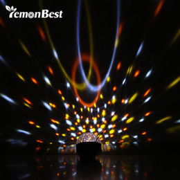 Wholesale Led Magic Ball Remote - Wholesale- 30W RGB LED Stage Light Crystal Magic Ball Voice Disco DJ Lamp Rotating Mirror Fairy Party Christmas Laser Projector with Remote
