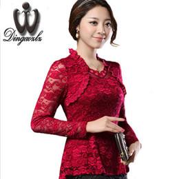 Wholesale Women Basic Chiffon Blouse - 2016 Plus size Women clothing Spring lace Shirt Tops Cutout basic female Elegant long-sleeve Lace Blouses shirts M-4XL