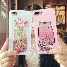 Wholesale Glitter Bottle - Cartoon Cat Flower Perfume Bottle Quicksand Dynamic Liquid Glitter Phone Case For iPhone 6 6s Plus Cases For Iphone 7 plus Case