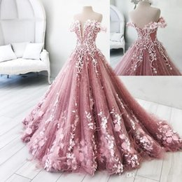 Discount flower lights - Real Photos Butterfly Flowers Appliques Ball Gown Masquerade Quinceanera Dresses Off Shoulder Backless Floor Length Sweet 16 Pageant Gowns