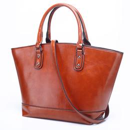 Wholesale discount handbags totes - 2018 Limit discounts Women Genuine Leather Handbag Causal Totes Female Shoulder Bag Vintage Trapeze High Quality Strap Handbag