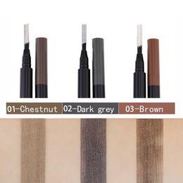Miss Rose Ceja Lápiz impermeable punta de la horquilla ceja tatuaje pluma 4 cabeza fina boceto ceja líquido Enhancer Dye Tint Pen 3 color desde fabricantes