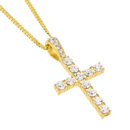 Wholesale 3mm Silver Necklace Chains - Stainless Steel Necklaces Cross Pendant Hip Hop Choker Sliver Gold Chain for Mens Iced Out Chain 3mm Cuban Links