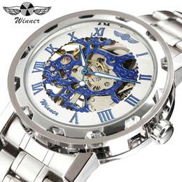 2019 vestido de esqueleto azul VENCEDOR Vestido Dos Homens Relógio Mecânico Oceano Azul Dial Esqueleto Numerais Retro Pulseira De Aço Inoxidável Moda Clássico Relógios De Pulso desconto vestido de esqueleto azul