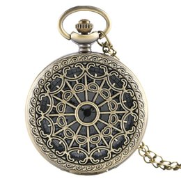 Wholesale Watch Spider - Bronze Antique Spider Web Hollow Quartz Pocket Watch Pendant Necklace Women Men Watches Elegant Analog Clock Gift