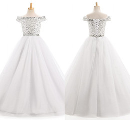 Wholesale Elegant Rhinestone Dresses - Elegant White Girls Pageant Dresses Off shoulder with Sleeves Bling Crystal Rhinestones Beaded Tulle Lace up Back Flower Girls Dress