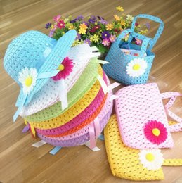 Wholesale Beach Hats Bags - Children cap sunhat handbag set visor baby girl floral ribbon straw cap tote kids summer beach Two-piece bag hat sunbonnet bags suit
