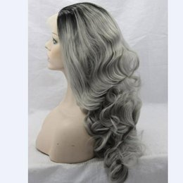Wholesale Cheap White Long Wig - 26'' Long Ombre Grey Wigs Natural Cheap Hair Wavy Grey Gray Synthetic Wigs For Black White Women Gray Silver Ombre Female Hairstyle