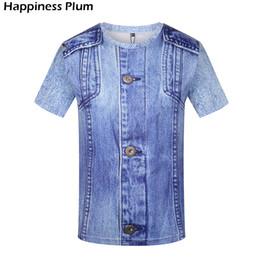 Marchi falsi abbigliamento online-T-shirt da uomo T-shirt divertenti T-shirt jeans hip-hop Tshirt hip-hop Raffreddare camicia 3d uomo / donna T-shirt moda maschile maglietta marca-abbigliamento
